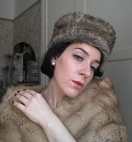 Faux fur Russian style hat